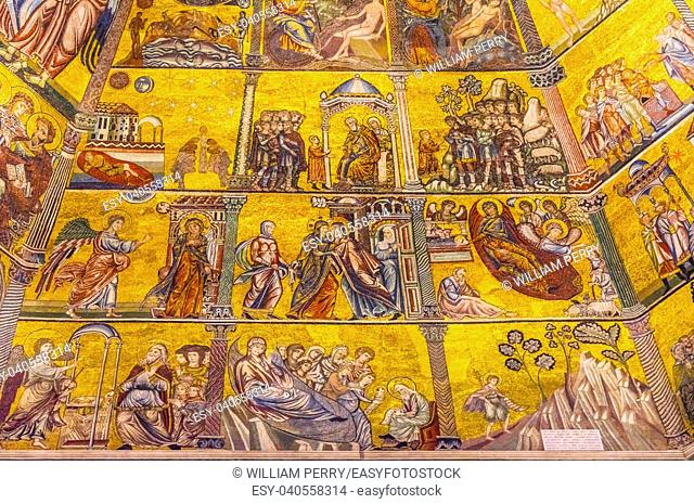 Virgin Mary Biblical Stories Mosaic Dome Bapistry Saint John Duomo Cathedral Church Florence Italy. Bapistry created 1050 to 1150