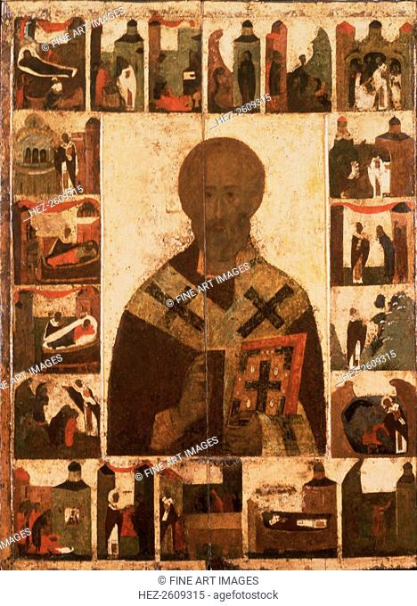 Saint Nicholas with scenes from his life, 14th century. Artist: Russian icon