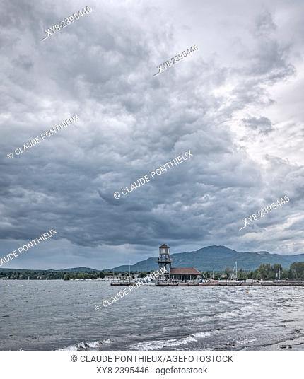 Cumulonimbus clouds over Memphremagog lake, Magog, Quebec, Canada