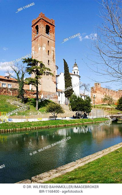 City wall, town tower and cathedral Saint Liberalis, Castelfranco, Veneto, Italy, Europe