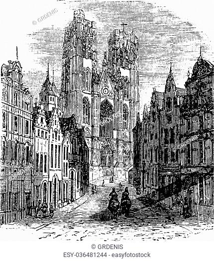 The Church Saint-Gudula of Brussels, Belgium. Vintage engraving. Old engraved illustration of a Roman Catholic church at the Treurenberg hill in Brussels
