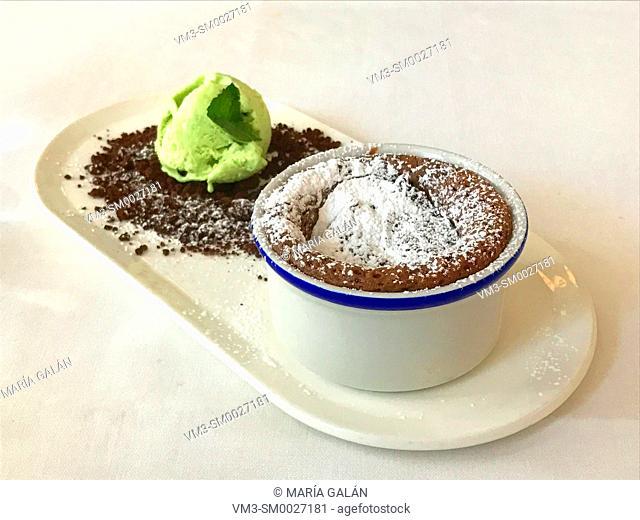 Chocolate souffle with mint ice cream