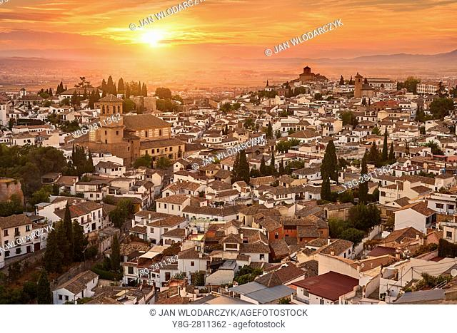 Sunset cityscape of Granada, Andalucia, Spain