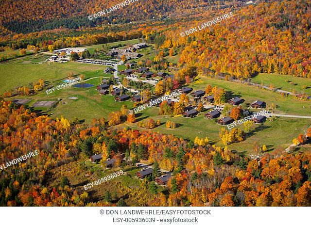 Aerial view of Trapp Family Lodge during peak foliage season, Stowe, Vermont, USA