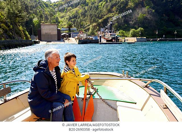 Grandfather and grandson, Sailing Boat, Port of Pasajes, Pasaia, Gipuzkoa, Basque Country, Spain, Europe