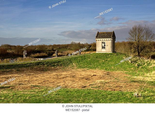 Gauge house near the locks of Benedensas near the Dutch town Steenbergen