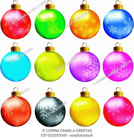 Set of vectors - Christmas balls in vivid colors with snowflakes model