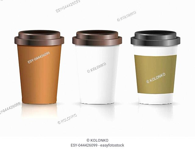 Coffee paper cup set with label. Brown plastic container for drink. Latte, mocha or cappuccino cup for cafe. Vector cover