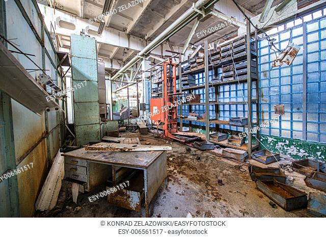 office in Jupiter Factory in Pripyat ghost town, Chernobyl Nuclear Power Plant Zone of Alienation, Ukraine