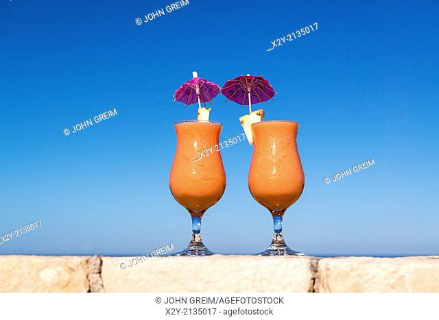 Tropical cotail beverages at a island resort