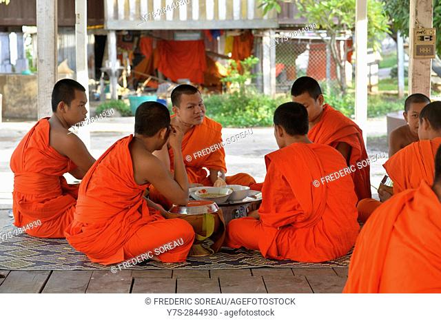 Monks at monastery in Don Khong island,South Laos,Southeast Asia