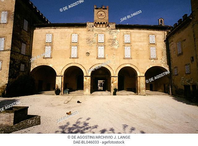 Courtyard and portico of Lanciano castle, Marche. Italy, 15th-18th century