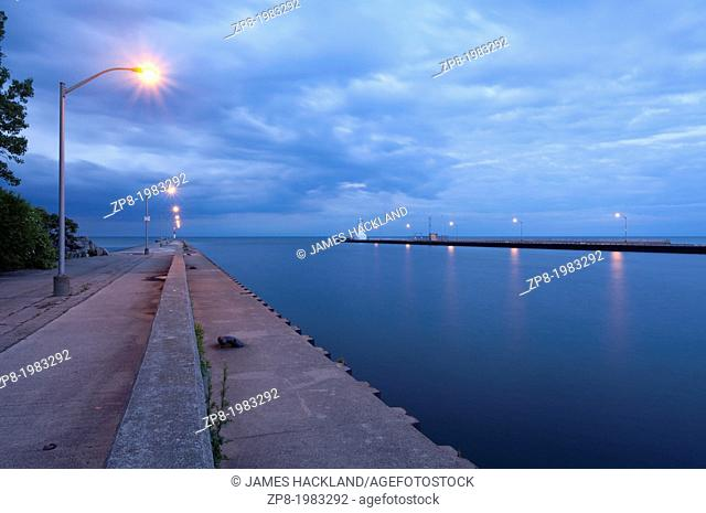 Lights along a pier at dusk, Burlington, Ontario, Canada