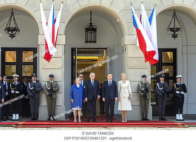 Czech President Milos Zeman (2nd from left) and his wife Ivana Zemanova (left) visit Poland and meet with Polish President Andrzej Duda (3rd from left) and his...