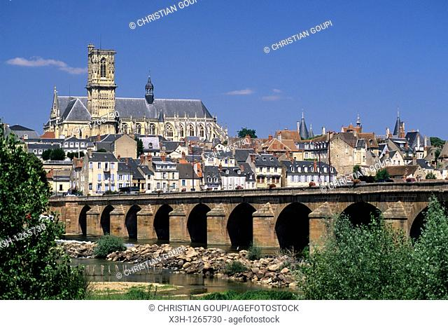 Loire river at Nevers, Nievre department, region of Burgundy, center of France, Europe