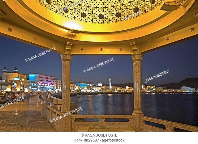 Oman, Arabia, East, Corniche, town, city, pavilion, At night, night, Muttrah, courage yard, Maskat, Muscat, coast, sea