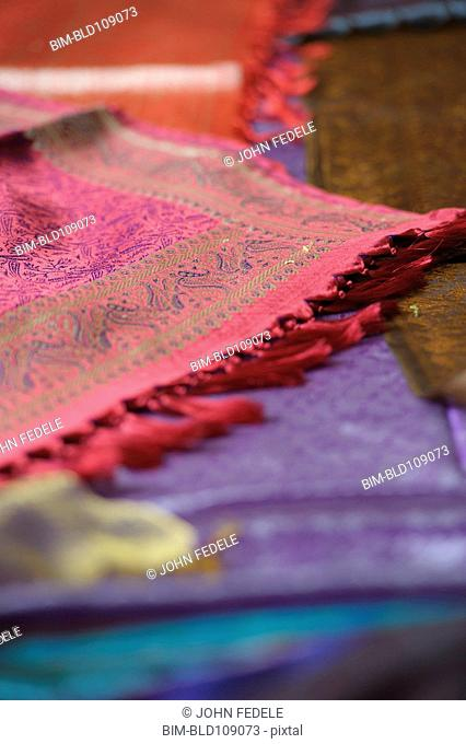 Close up of bright woven textiles