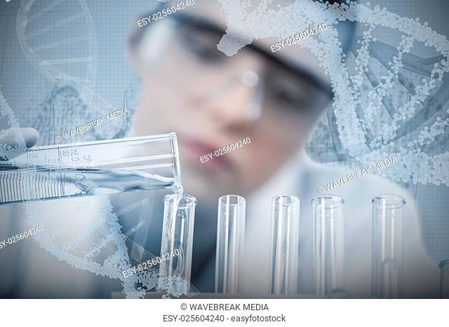 Composite image of female scientist pouring chemical