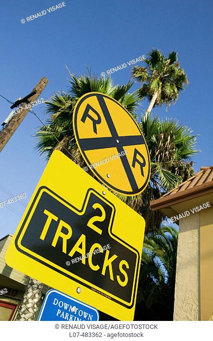 Railroad crossing sign. San Diego. California. United States