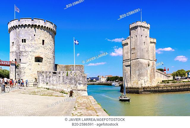 The old port with Saint-Nicolas Tower and Chain Tower. La Rochelle. Poiteau. Charente-Maritime. France