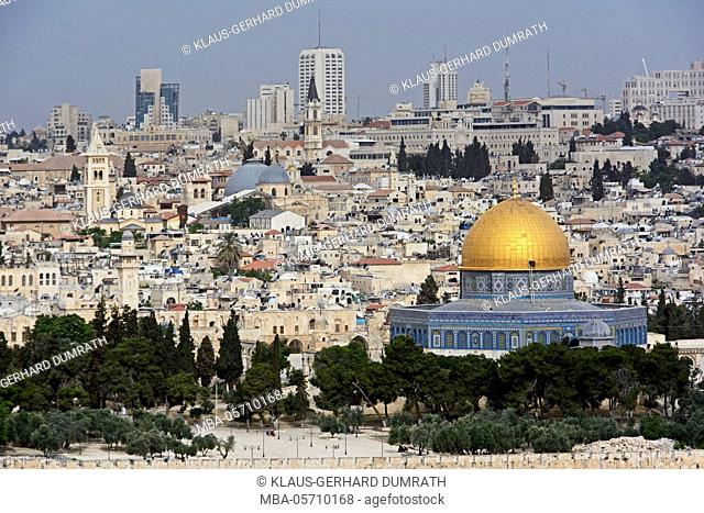 Israel, Jerusalem, the Mount of Olives, cityscape, old town, Dome of the Rock, religion, Skyscrapers