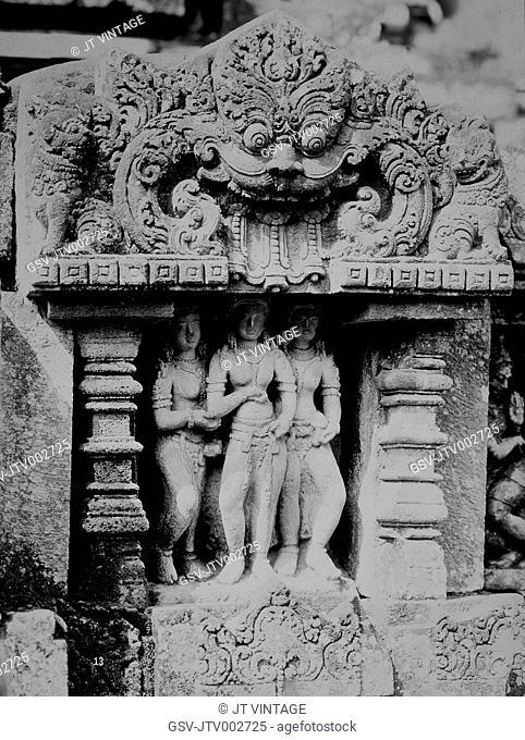 Statue of Three Women and Relief Panel, Prambanan Temple, Java, Indonesia, circa 1900