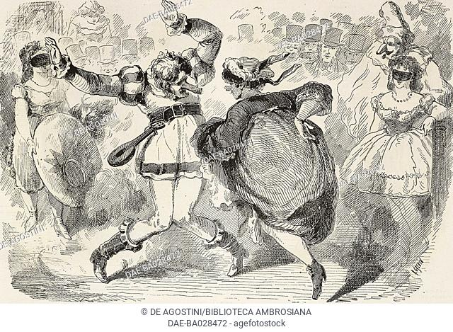 Two playmakers at the masked ball at the Opera, Paris, France, illustration by Alfred Grevin (1827-1892) from the Journal pour rire, Journal Amusant, No 363