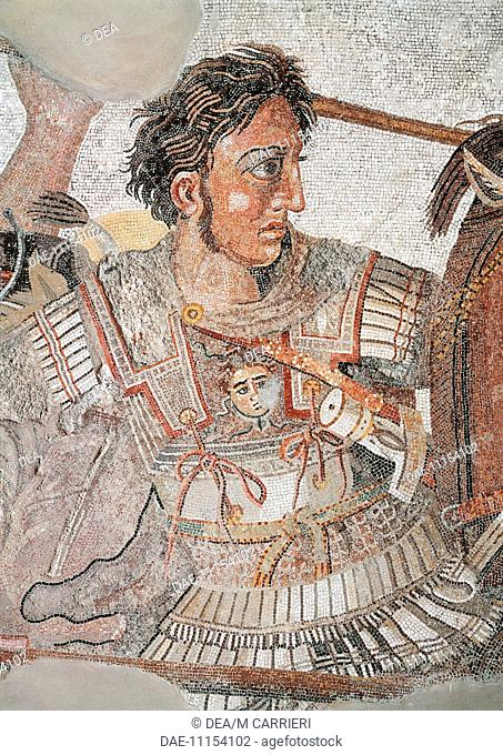 Roman civilization. Mosaic depicting the Battle of Issus. From Pompei. Detail: Alexander the Great.  Naples, Museo Archeologico Nazionale (Archaeological...