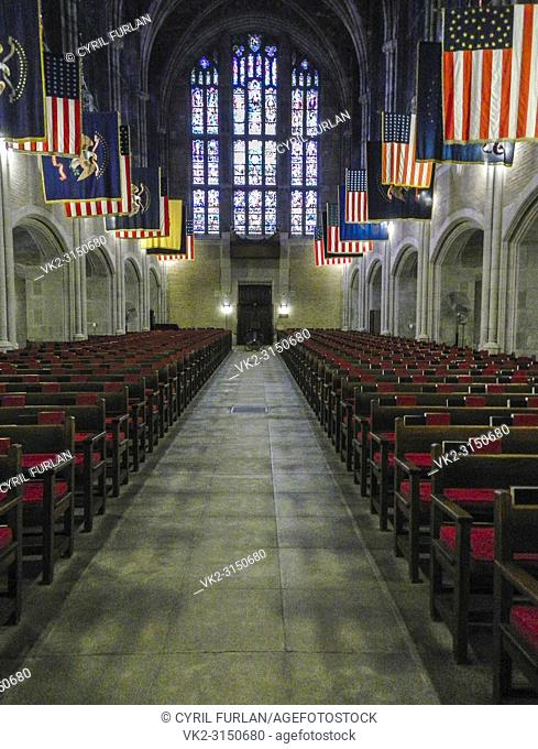 Looking down the aisle cadets chapel West Point New York, on the Hudson River