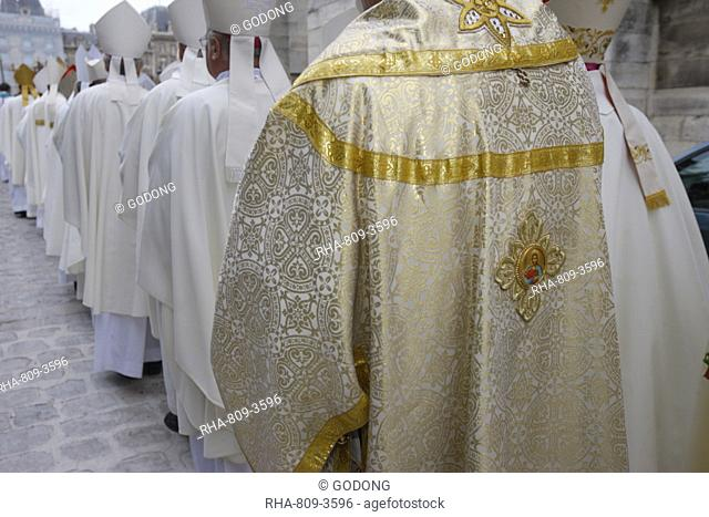 European bishops' procession into Notre Dame de Paris cathedral, Paris, France, Europe