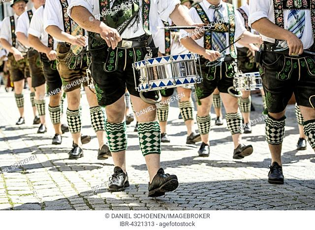 Parade marching band, traditional costume parade, Garmisch-Partenkirchen, Upper Bavaria, Bavaria, Germany