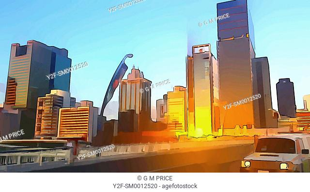 cartoon filter view of car crossing Victoria bridge and Brisbane city skyline at sunset