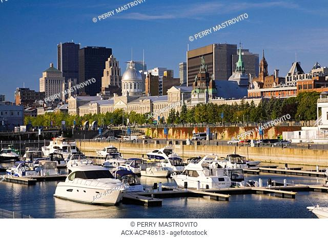 Yachts moored at the marina in the Old Port of Montreal in autumn, Quebec, Canada