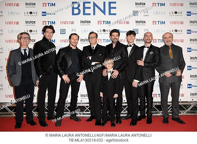 The director Gabriele Muccino and cast Giampaolo Morelli, Stefano Accorsi, Pierfrancesco Favino, Christian Marconcini, Renato Raimondi, Gianmarco Tognazzi