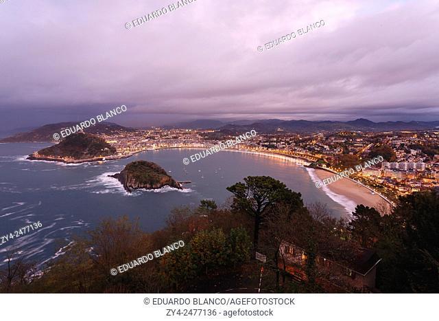 View of Donostia. San Sebastian. Euskadi. Vasque country. Spain. Europe