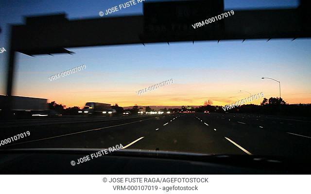 USA-California-Sacramento City-Sunset at Interstate 80