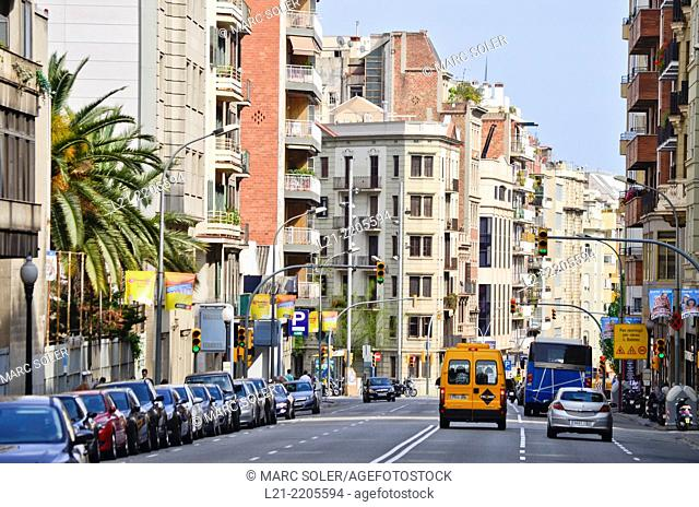 Cityscape, view of a street and buildings. Barcelona, Catalonia, Spain