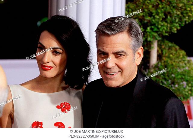 Amal Clooney, George Clooney at the World Premiere of Universal Pictures' Hail, Caesar! held at the Regency Village Theatre in Westwood, CA, February 1, 2016