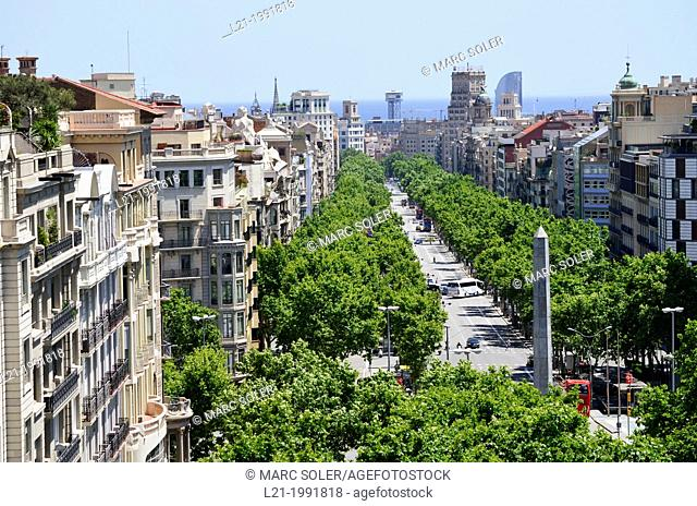 Passeig de Gràcia. View from above. Barcelona, Catalonia, Spain