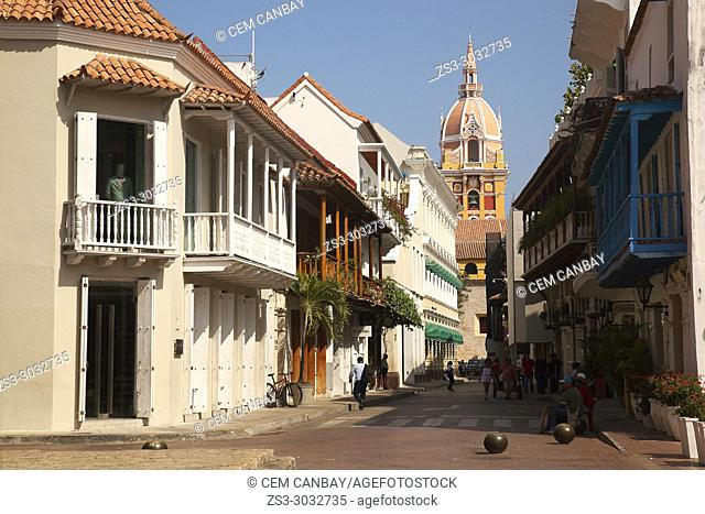 View to the Cathedral Basilica of Saint Catherine of Alexandria at the historic center, Cartagena de Indias, Bolivar, Colombia, South America
