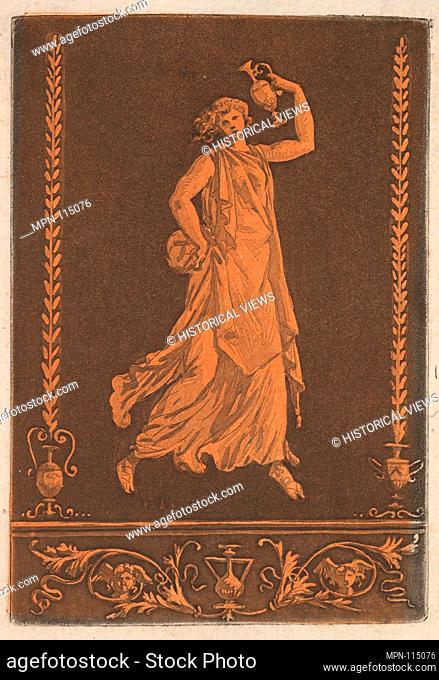 Jeune femme drapée, marchant de gauche à droit, portant un vase de métal (Young draped woman, walking from left to right