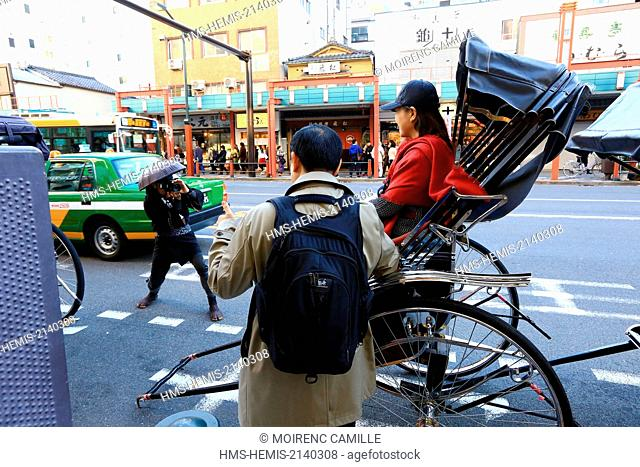 Japan, Honshu island, Tokyo, Taito, Asakusa district, rickshaws