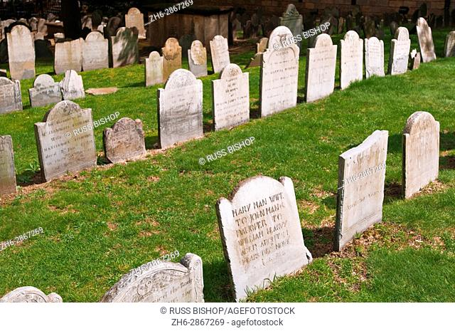 Tombstones at Kings Chapel Burial Ground on the Freedom Trail, Boston, Massachusetts USA