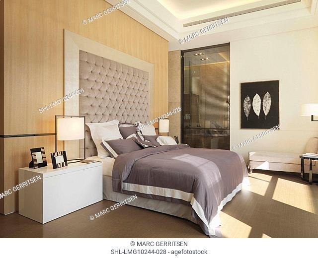 Lavender Bed In Modern Bedroom
