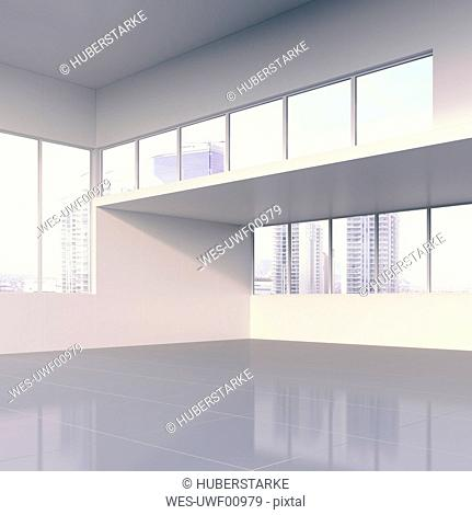 Interior view of modern hall with view on skyscrapers