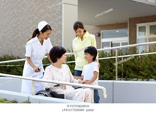Grandmother with Grandson, Daughter and Nurse