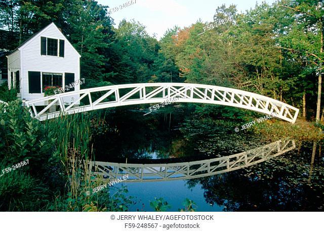 Arched footbridge. Somesville. Maine. USA