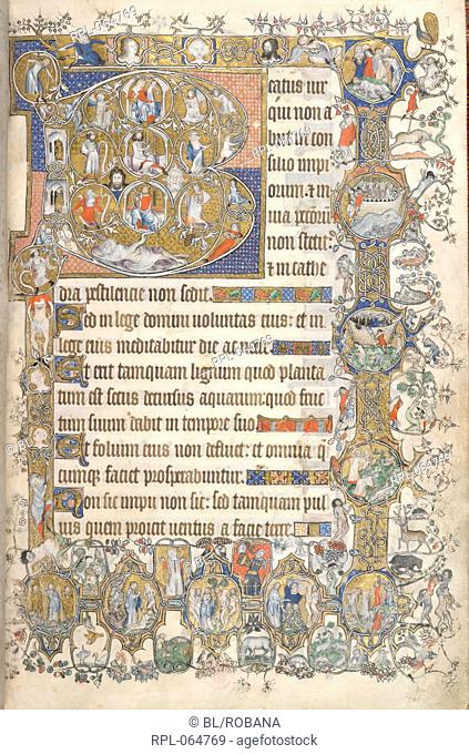 Beatus page Whole folio Psalm 1 beginning with initial 'B' the Tree of Jesse. Branches spring from Jesse and include miniatures of David Solomon the Virgin and...