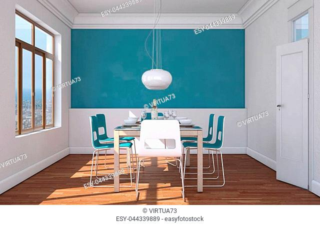 Dining room interior design with blue wall 3D Illustration