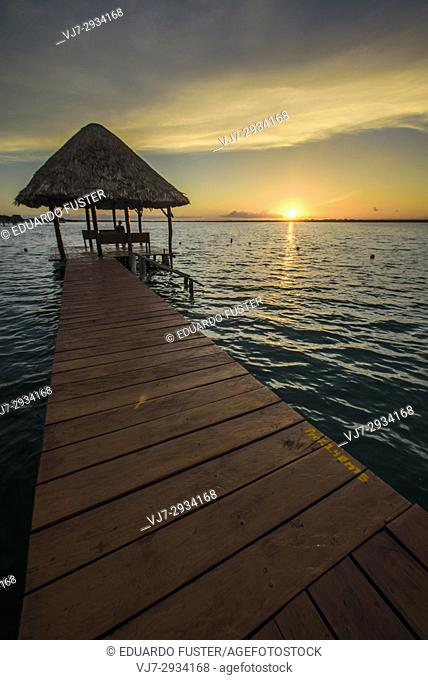 Bacalar lagoon at sunset, Quintana Roo (Mexico)